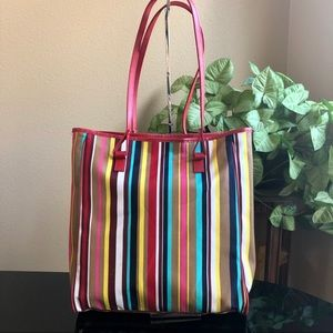 Lancôme Red Striped Fully Lined Tote Gently Used